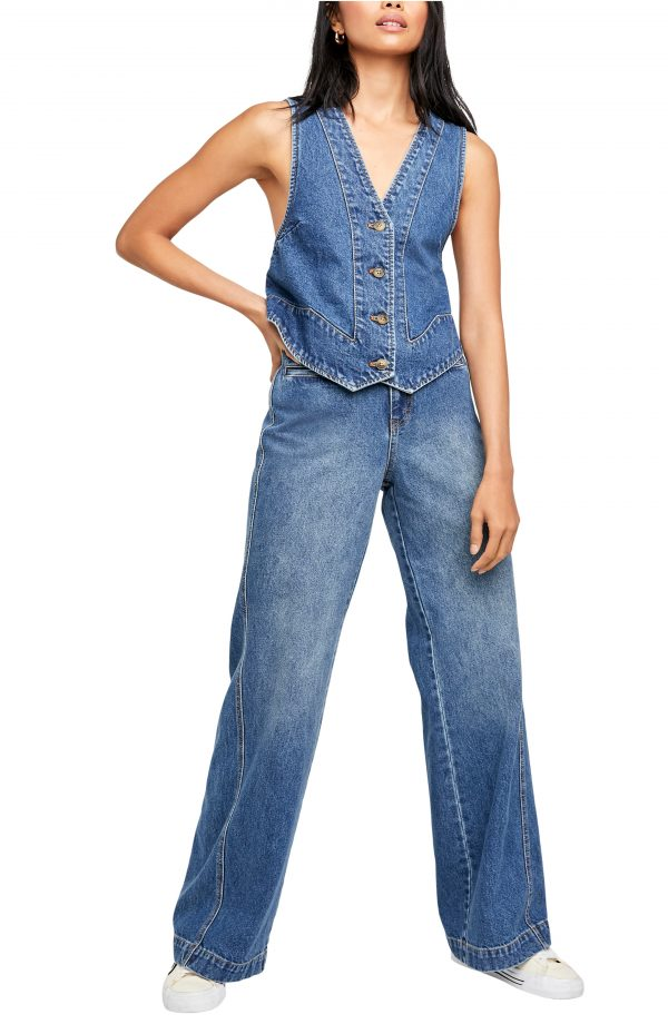 Women's Free People Modern Meadow Sleeveless Denim Vest & Jeans, Size X-Small - Blue