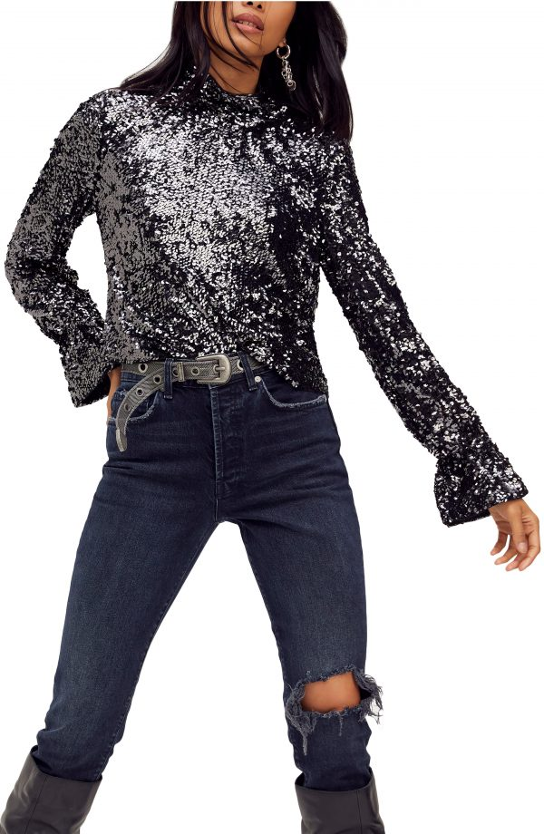 Women's Free People Moonstruck Sequin Open Back Top, Size X-Small - Black