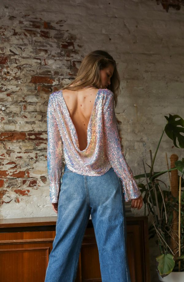 Women's Free People Moonstruck Sequin Open Back Top, Size X-Small - Yellow