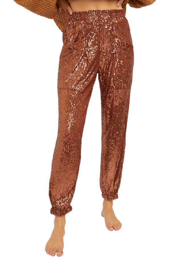 Women's Free People Morelia Sequin Joggers, Size X-Small - Metallic