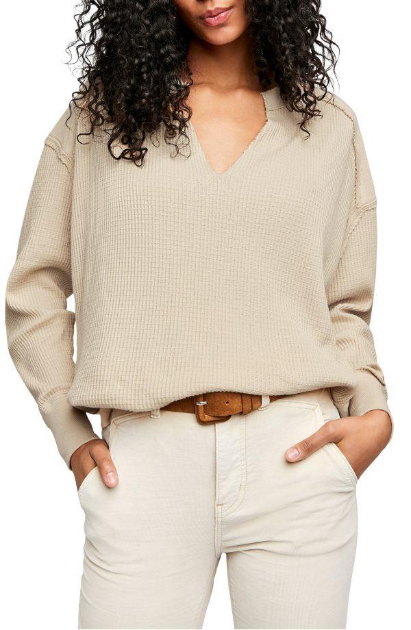 Women's Free People Owen Thermal Knit Shirt, Size X-Small - Ivory
