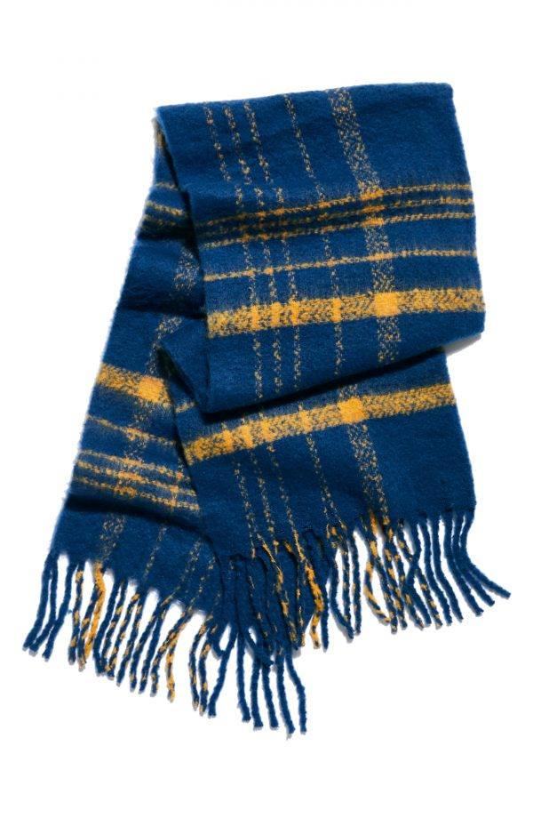 Women's Free People Prep Brushed Plaid Oversize Scarf, Size One Size - Blue
