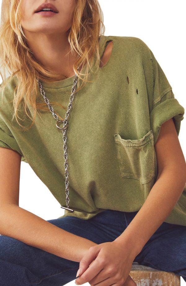 Women's Free People Rubi Ripped Pocket T-Shirt, Size X-Small - Green