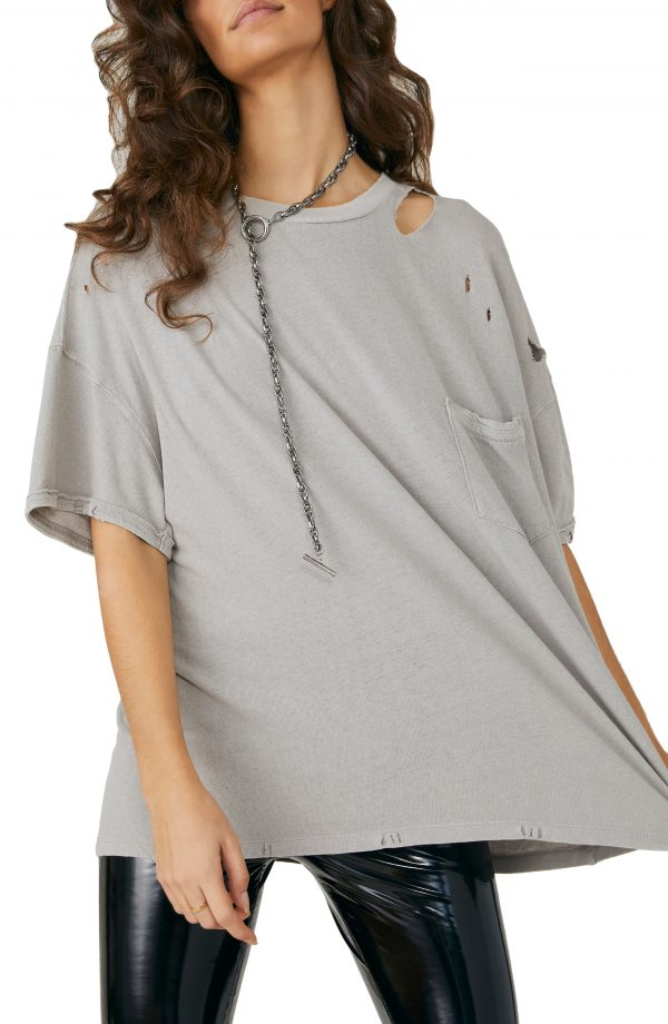 Women's Free People Rubi Ripped Pocket T-Shirt, Size X-Small - Grey