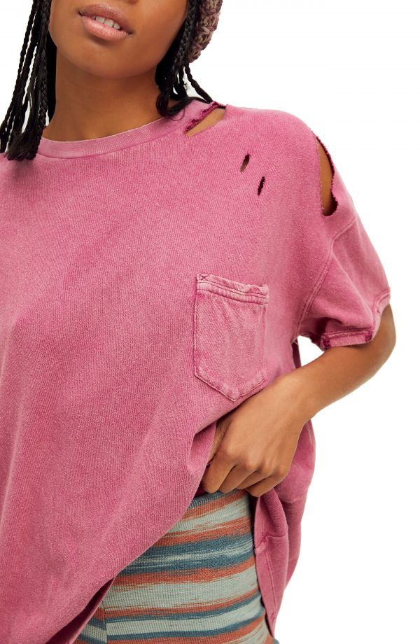Women's Free People Rubi Ripped Pocket T-Shirt, Size X-Small - Pink