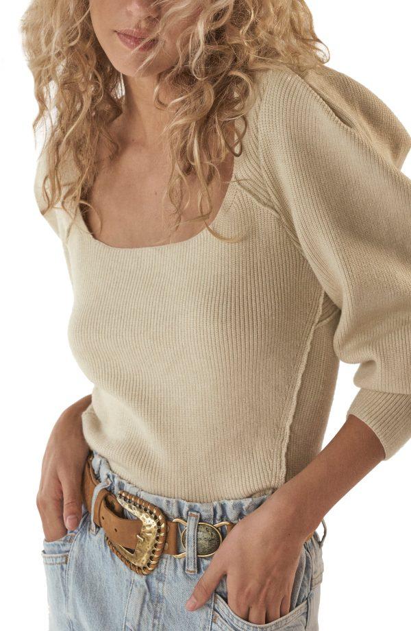 Women's Free People Saffron Open Back Sweater, Size X-Small - Ivory