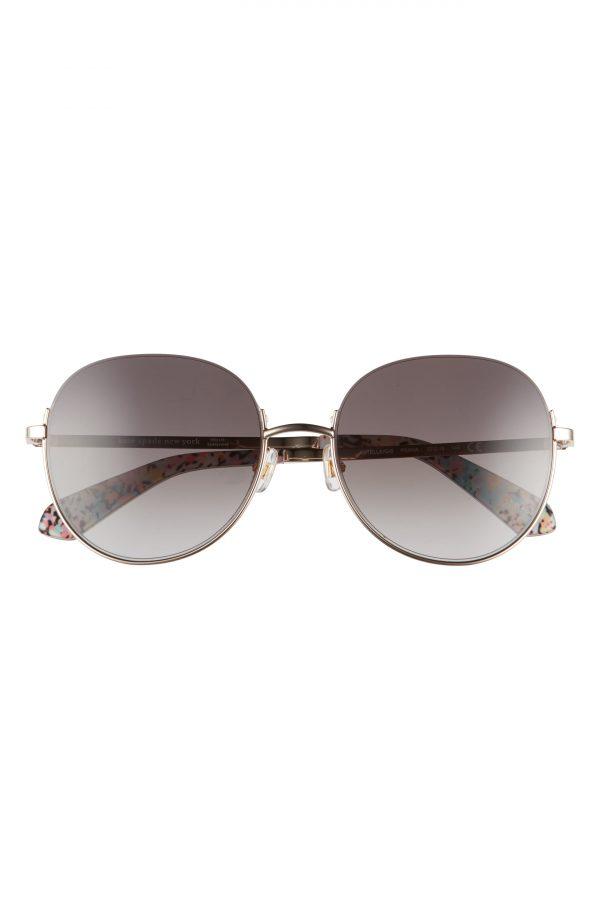 Women's Kate Spade New York Astelle 55mm Gradient Round Sunglasses - Gold/ Brown Gradient