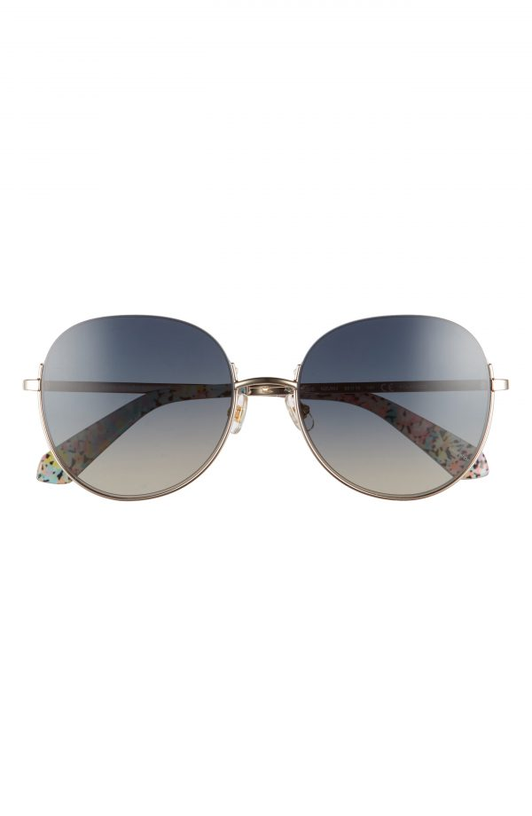 Women's Kate Spade New York Astelle 55mm Gradient Round Sunglasses - Rose Gold/ Black/ Grey