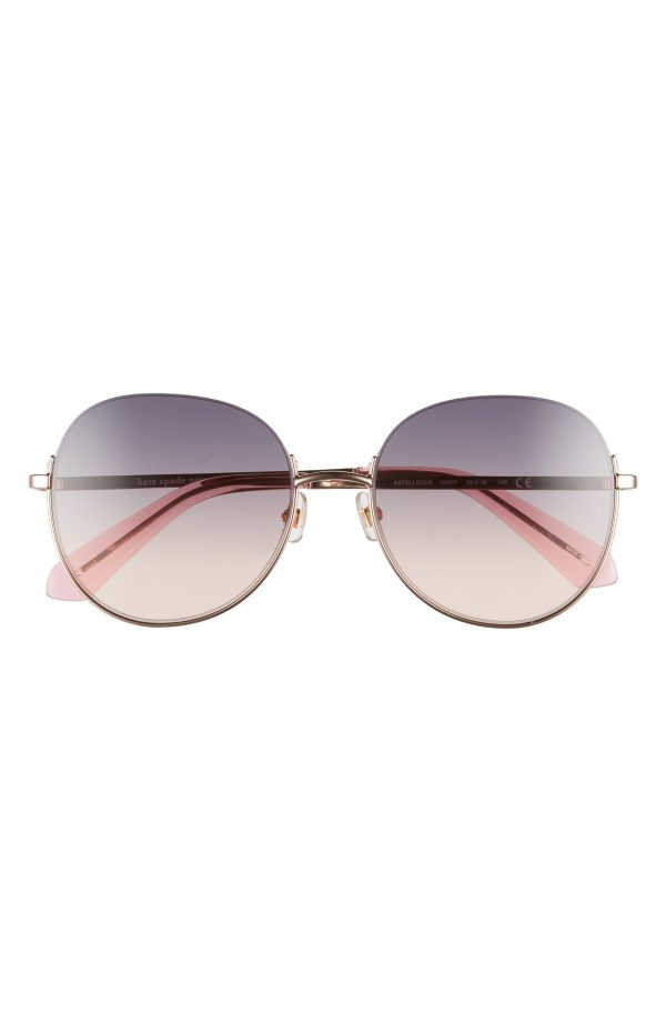 Women's Kate Spade New York Astelle 55mm Gradient Round Sunglasses - Rosegold/grey Fuschia Gradient