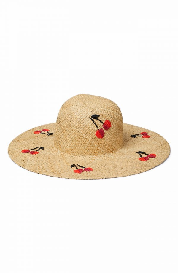 Women's Kate Spade New York Cherries Raffia Sunhat - Beige