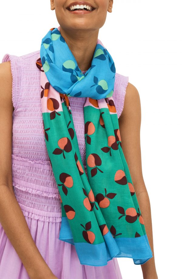 Women's Kate Spade New York Colorblock Apples Scarf, Size One Size - Blue