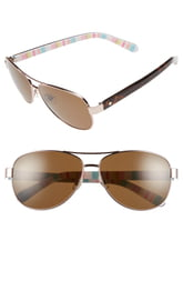 Women's Kate Spade New York 'Dalia' 58mm Polarized Aviator Sunglasses - Rose Gold/ Red