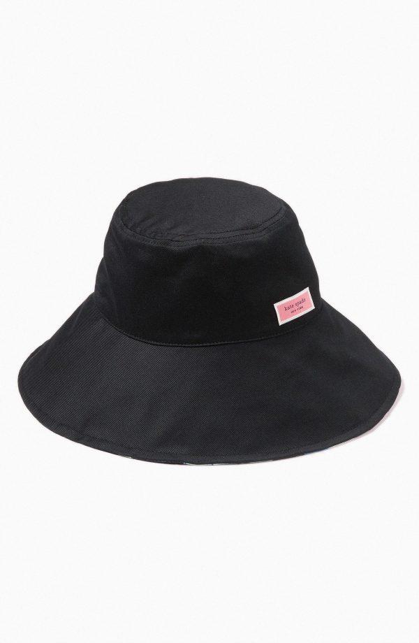 Women's Kate Spade New York Full Bloom Reversible Cotton Twill Bucket Hat - Black