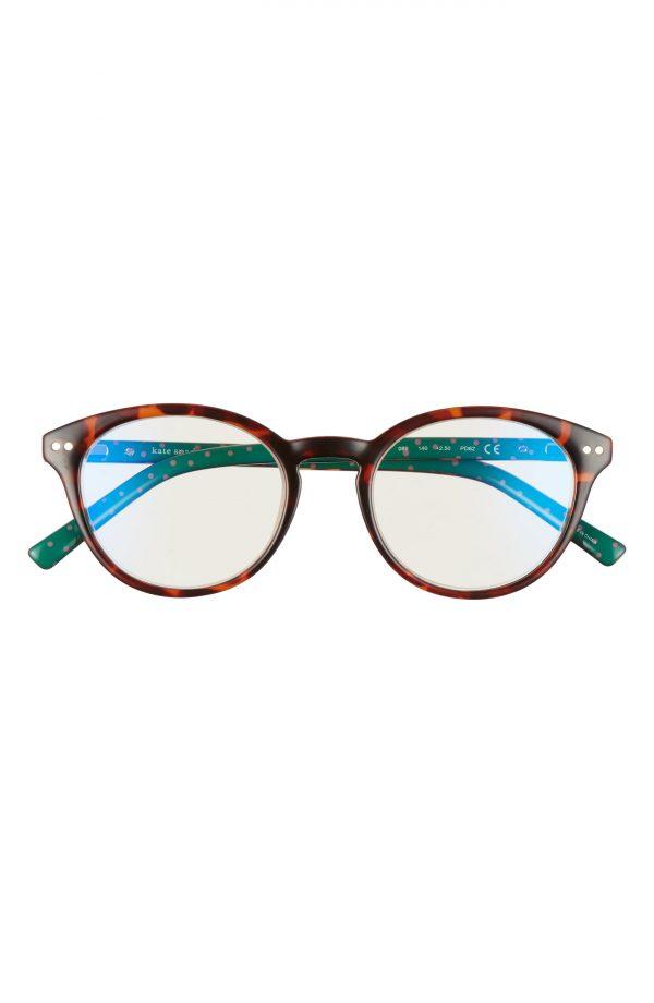 Women's Kate Spade New York Kinslee 48mm Blue Light Blocking Reading Glasses - Dark Havana
