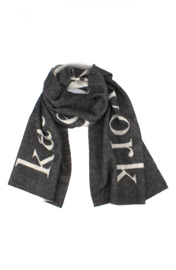 Women's Kate Spade New York Logo Wool & Cashmere Scarf, Size One Size - Black