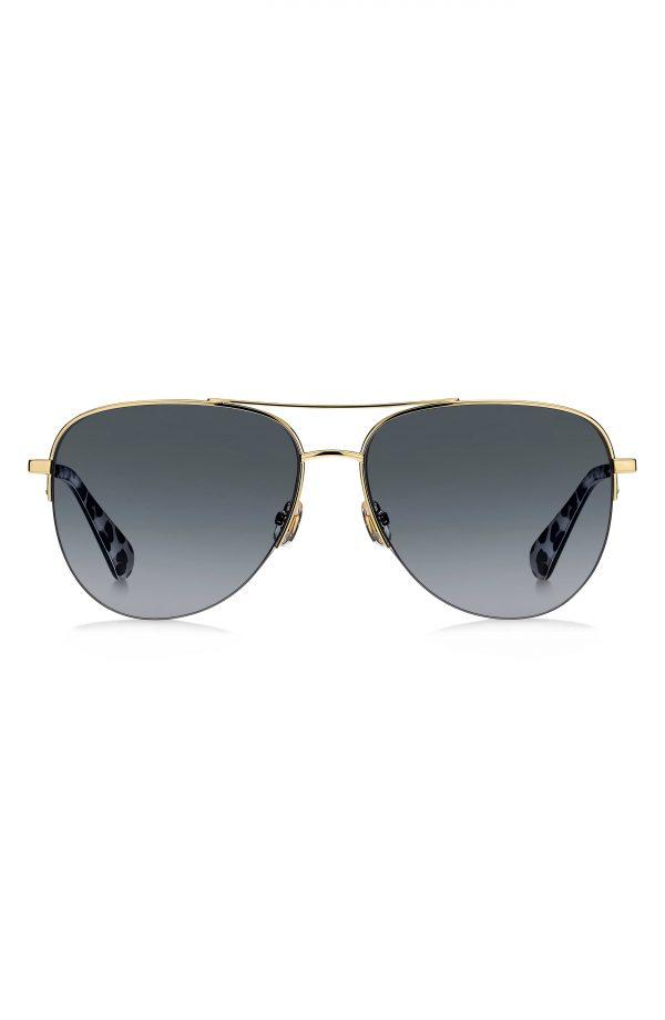 Women's Kate Spade New York Maisie 60mm Gradient Aviator Sunglasses - Black/ Dark Grey Gradient