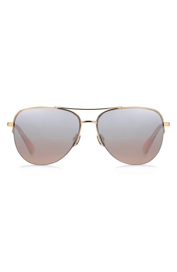 Women's Kate Spade New York Maisie 60mm Gradient Aviator Sunglasses - Pink/ Brown Mirror Gradient