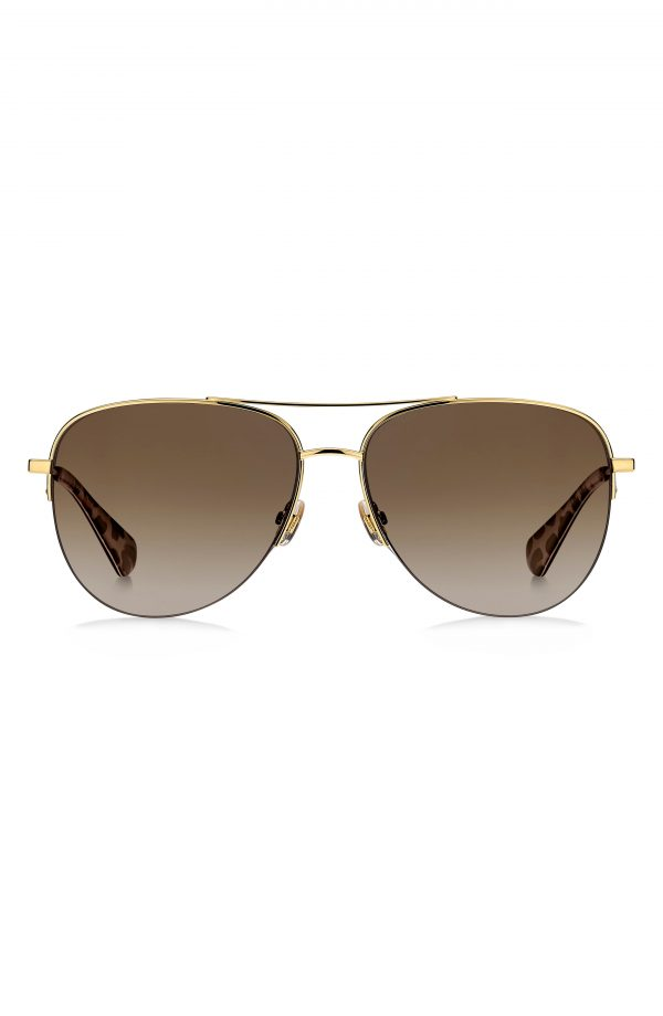 Women's Kate Spade New York Maisie 60mm Polarized Gradient Aviator Sunglasses - Dark Havana/ Brown Gradient