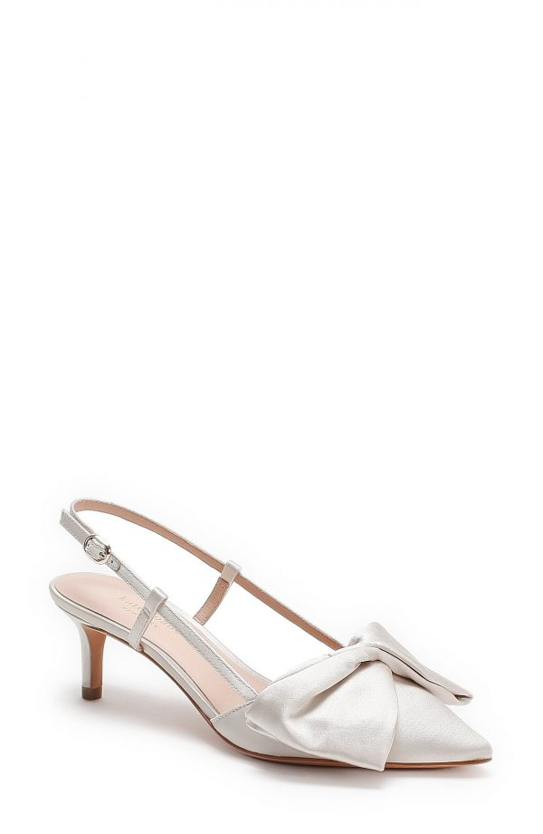 Women's Kate Spade New York Marseille Bow Pointed Toe Slingback Pump, Size 5 M - Ivory