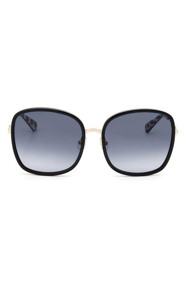 Women's Kate Spade New York Paola 59mm Gradient Square Sunglasses - Black/ Dark Grey Gradient