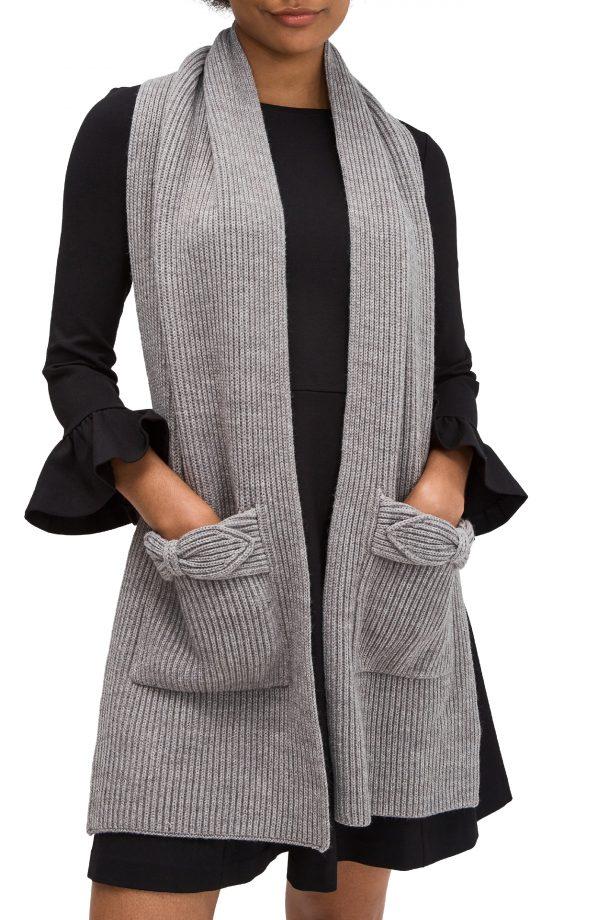 Women's Kate Spade New York Pointy Bow Pocket Scarf, Size One Size - Grey