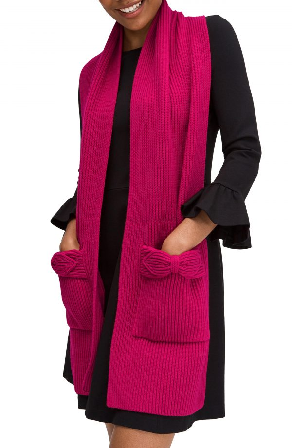 Women's Kate Spade New York Pointy Bow Pocket Scarf, Size One Size - Pink
