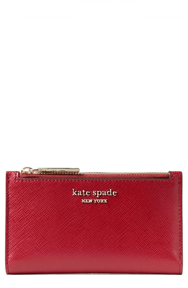 Women's Kate Spade New York Small Spencer Slim Leather Bifold Wallet - Red