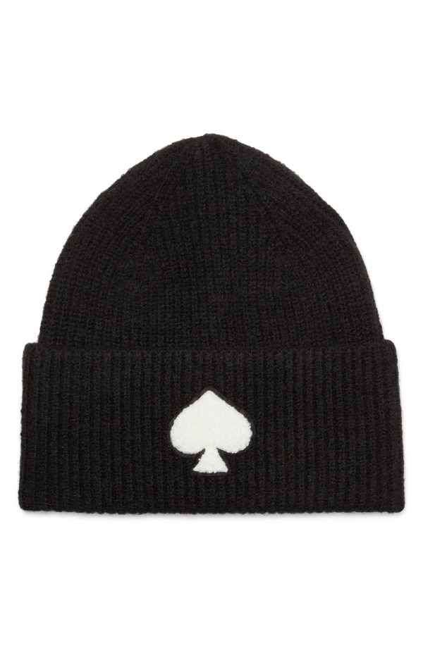 Women's Kate Spade New York Spade Patch Beanie - Black