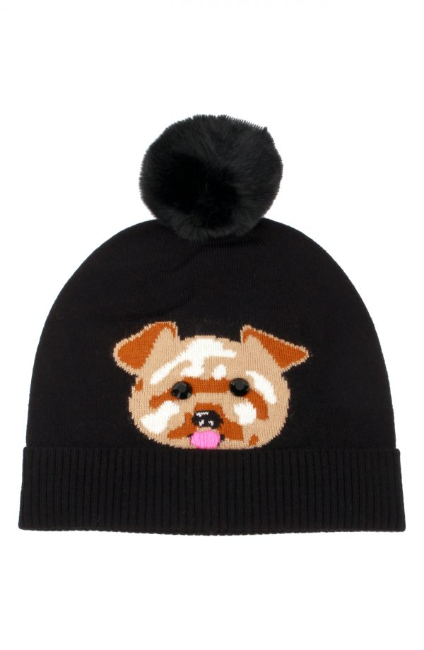 Women's Kate Spade New York Terrier Intarsia Pompom Beanie - Black