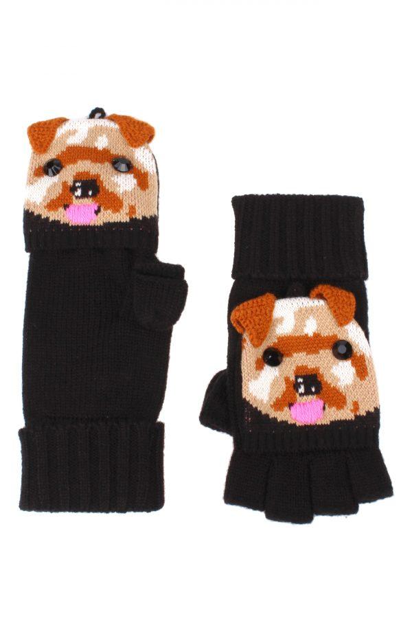 Women's Kate Spade New York Terrier Pop Top Mittens, Size One Size - Black