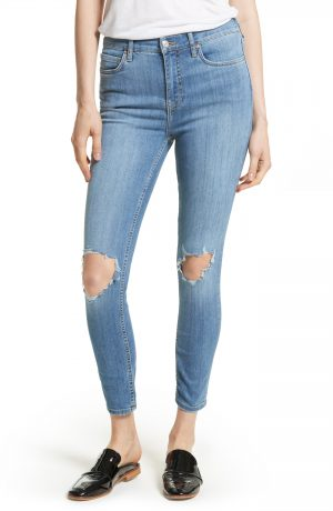 Women's We The Free By Free People High Rise Busted Knee Skinny Jeans, Size 24 - Blue