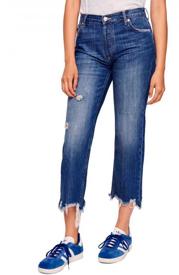 Women's We The Free By Free People Maggie Ripped Crop Straight Leg Jeans, Size 24 - Blue