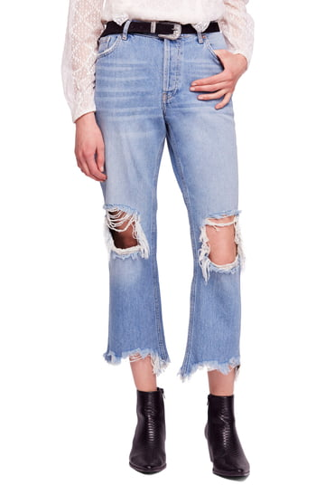 Women's We The Free By Free People Maggie Ripped Crop Straight Leg Jeans, Size 25 - Blue