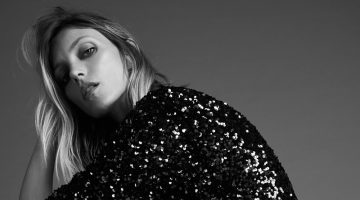 Anja Rubik poses in Zara sequin mini dress.