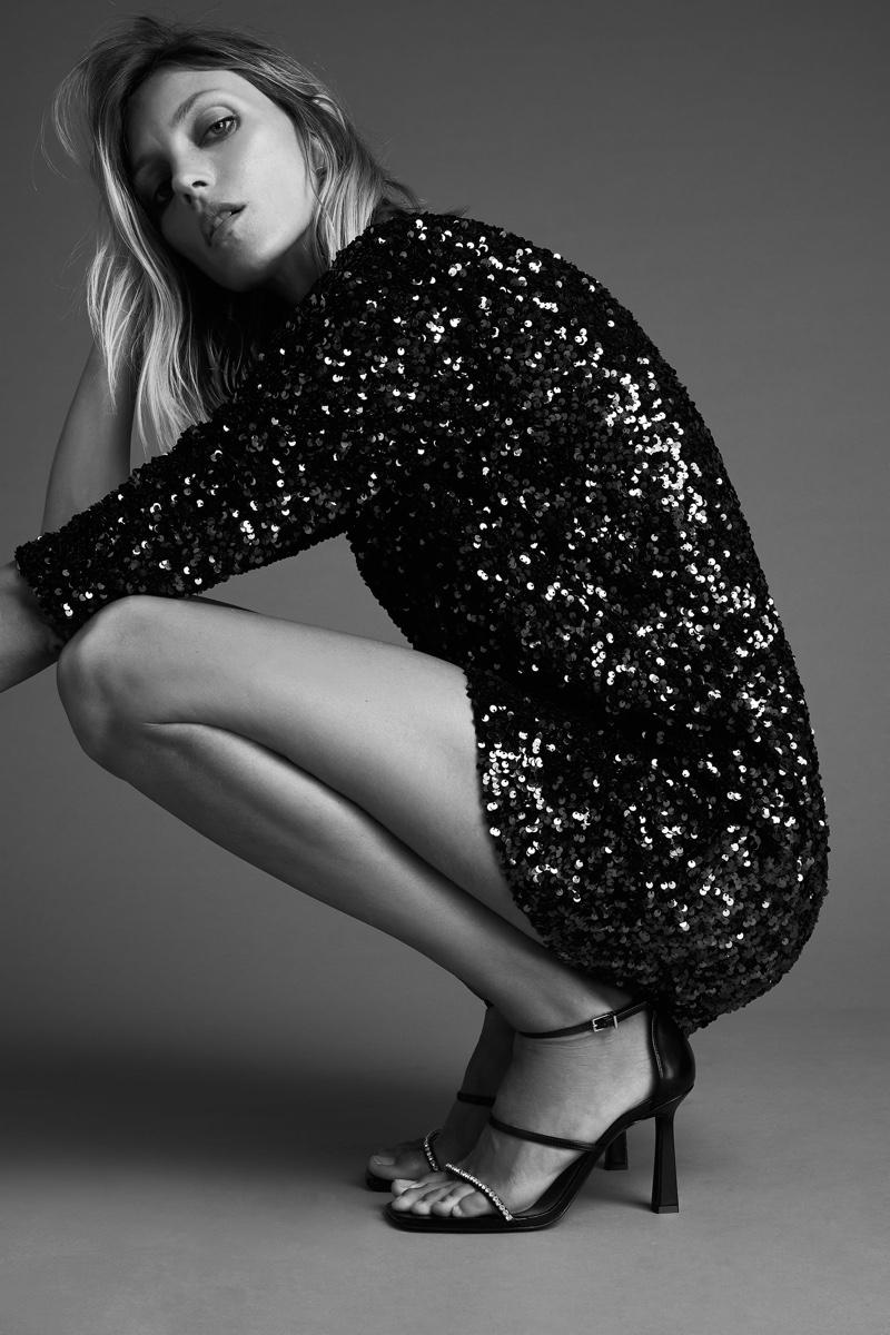 Anja Rubik poses in Zara sequin mini dress.
