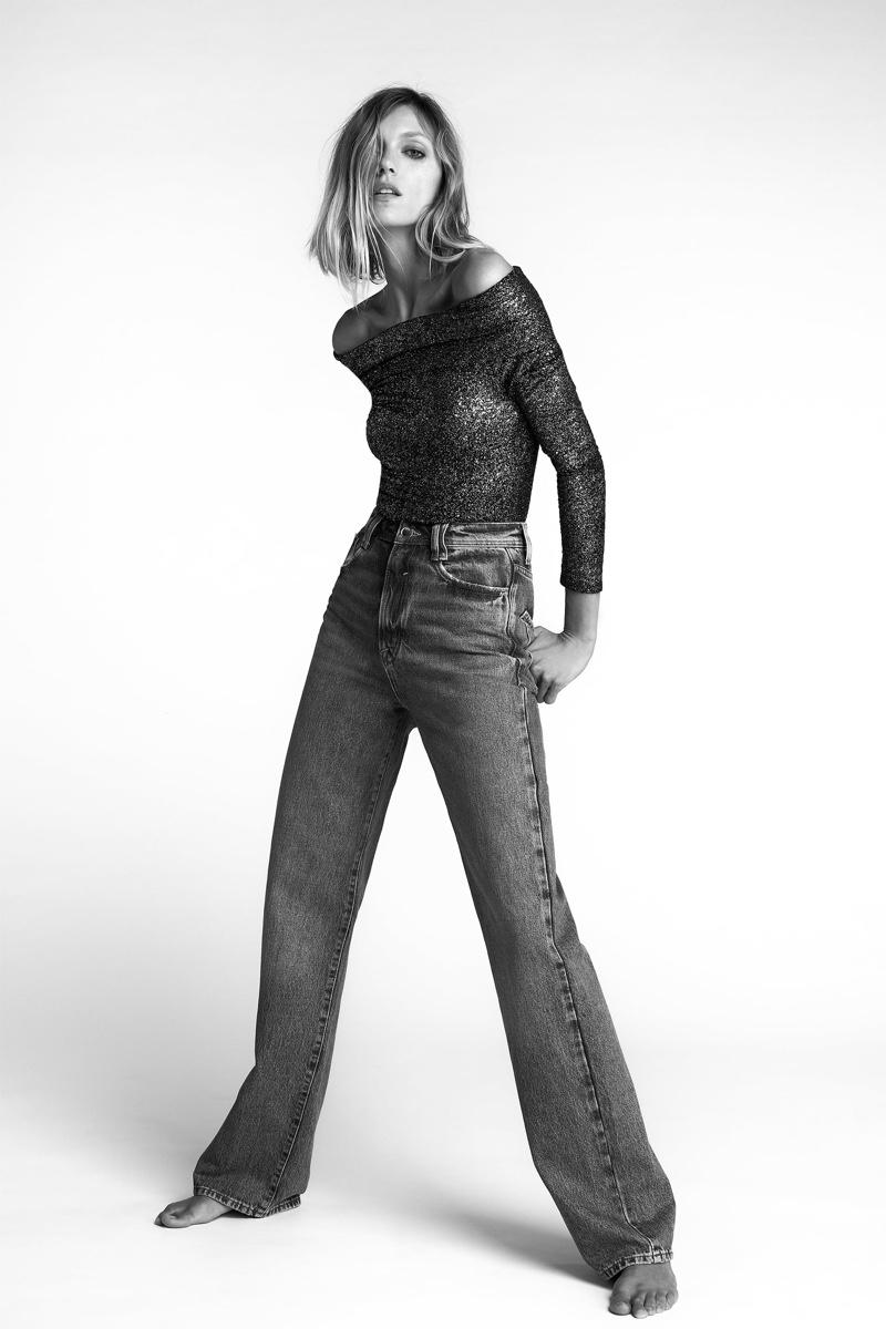 Anja Rubik Models Zara's Party-Ready Styles