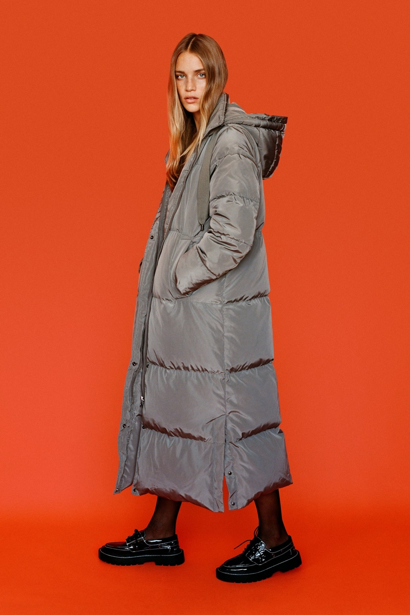 Zara Water And Wind Protection Long Down Coat.