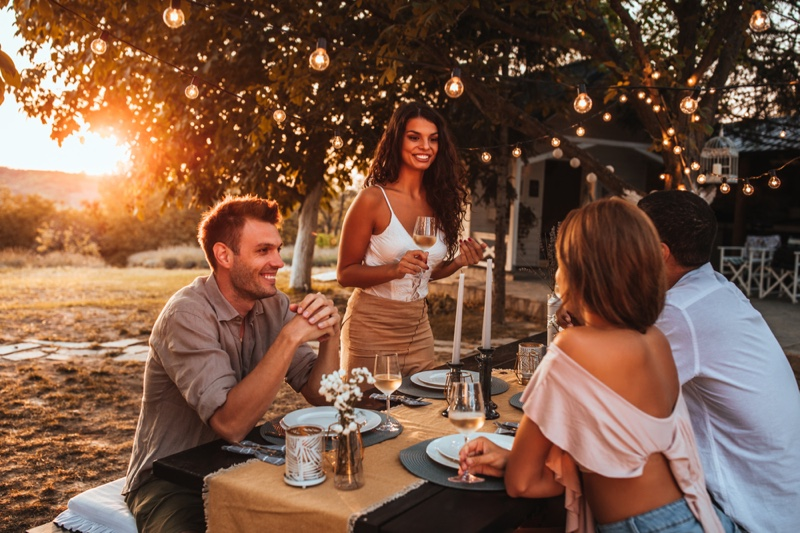 Attractive Friends Outdoor Party Drinks Table