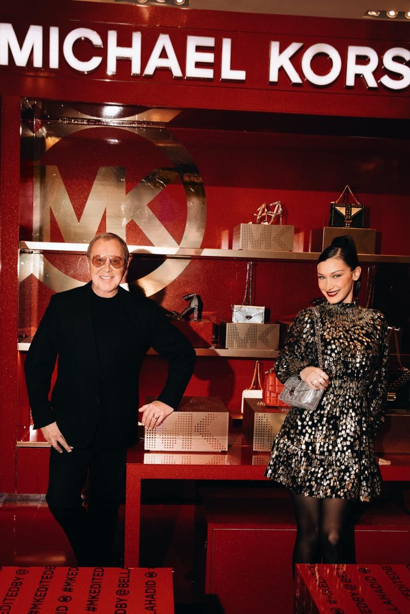Designer Michael Kors and model Bella Hadid at MK Edited By in Macy's Herald Square.