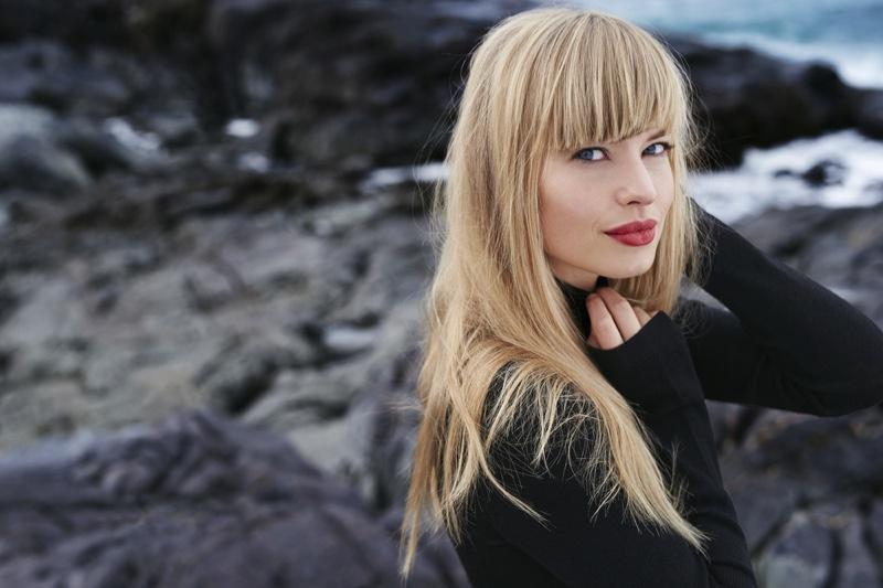 Blonde Model Bangs Black Dress Cropped