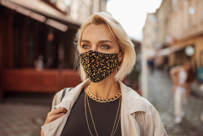 Blonde Woman Stylish Face Mask City