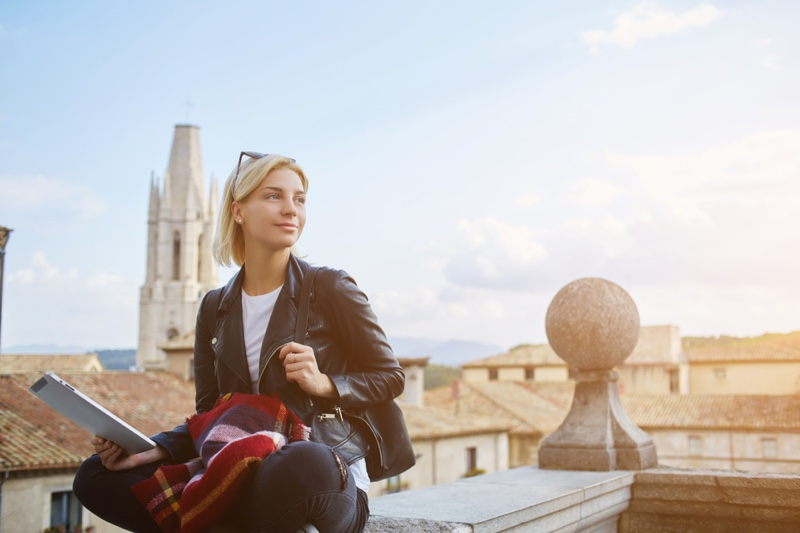 Blonde Woman Travel Leather Jacket Reading Material