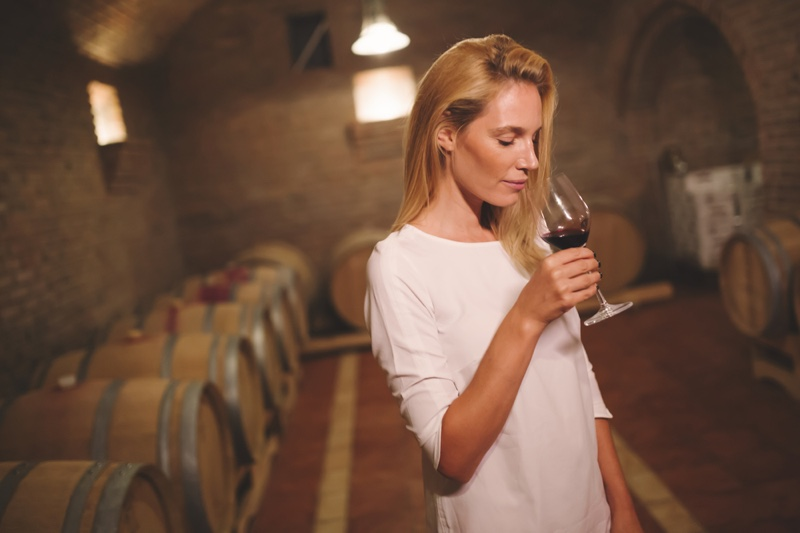 Blonde Woman Wine Cellar Glass Red