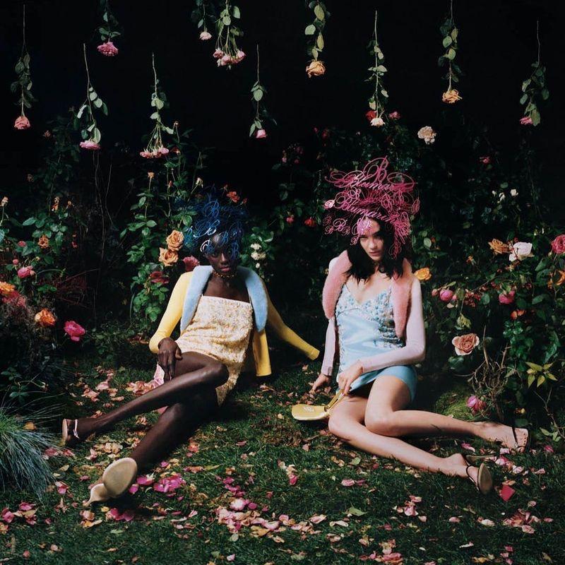Sokhna Niane and Mariacarla Boscono pose in a garden for Blumarine spring-summer 2021 campaign.