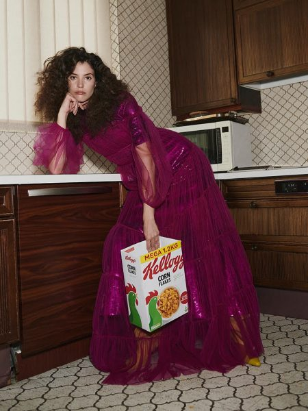 Carla Ciffoni Models Party Dresses at Home for Grazia Middle East