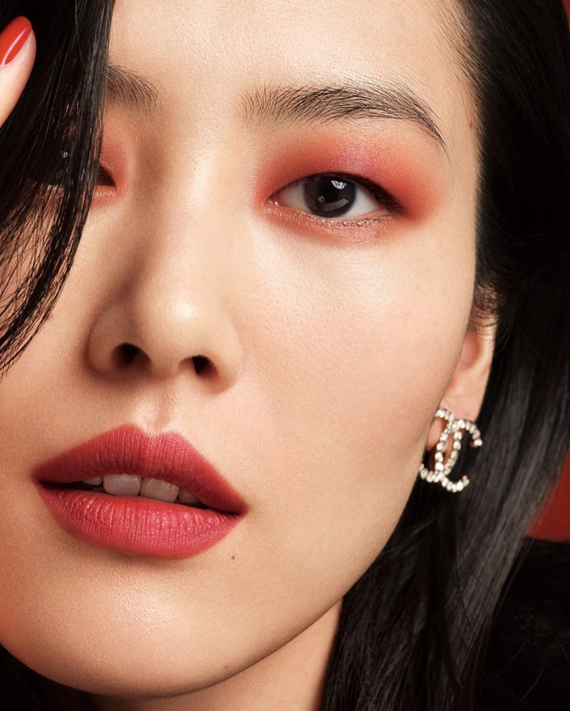 Red stands out in Chanel Colours of Chanel makeup campaign.