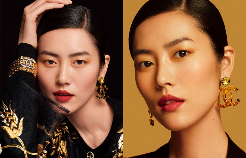 Shining in gold, Liu Wen fronts Chanel Colours of Chanel campaign.