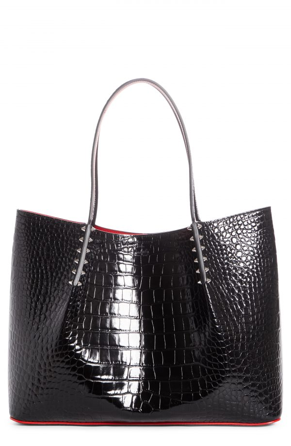 Christian Louboutin Large Cabarock Croc Embossed Leather Tote - Black