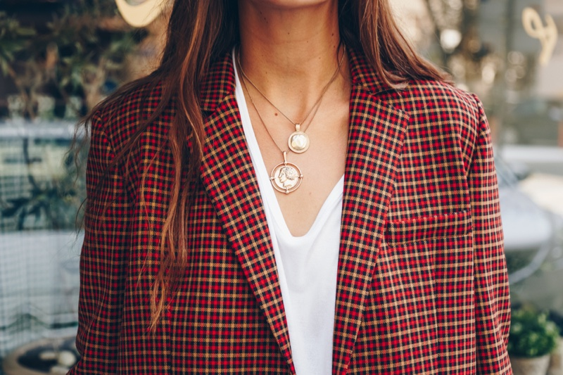 Closeup Woman Red Checkered Plaid Blazer Coin Necklaces Jewelry