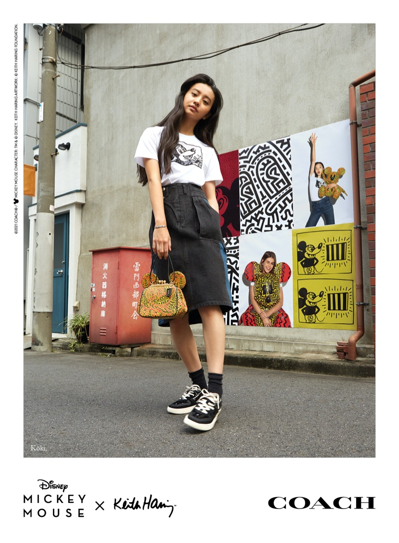Koki fronts Coach Mickey Mouse x Keith Haring campaign.